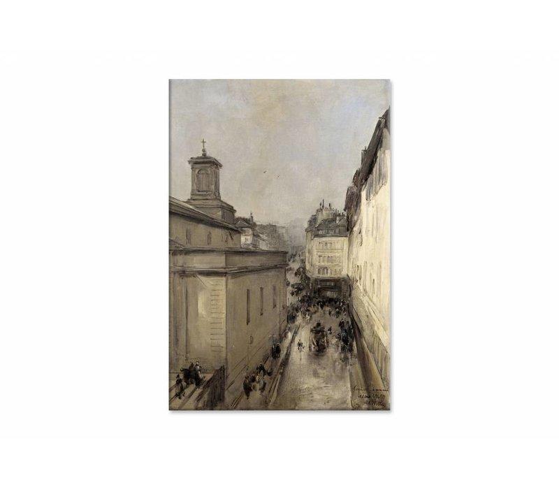 Gezicht op de Notre Dame • staande afdruk op canvas