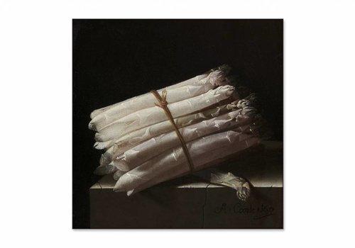 Stilleven met asperges • vierkante afdruk op textiel