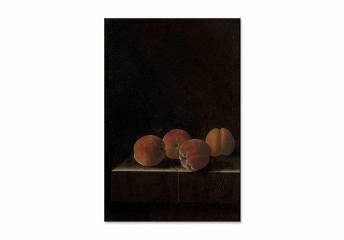 Vier abrikozen op een stenen plint • staande afdruk op textiel