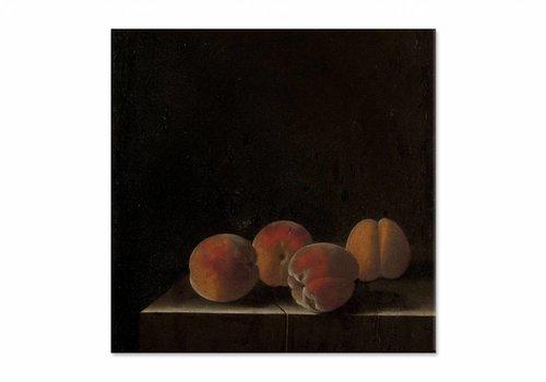 Vier abrikozen op een stenen plint • vierkante afdruk op canvas