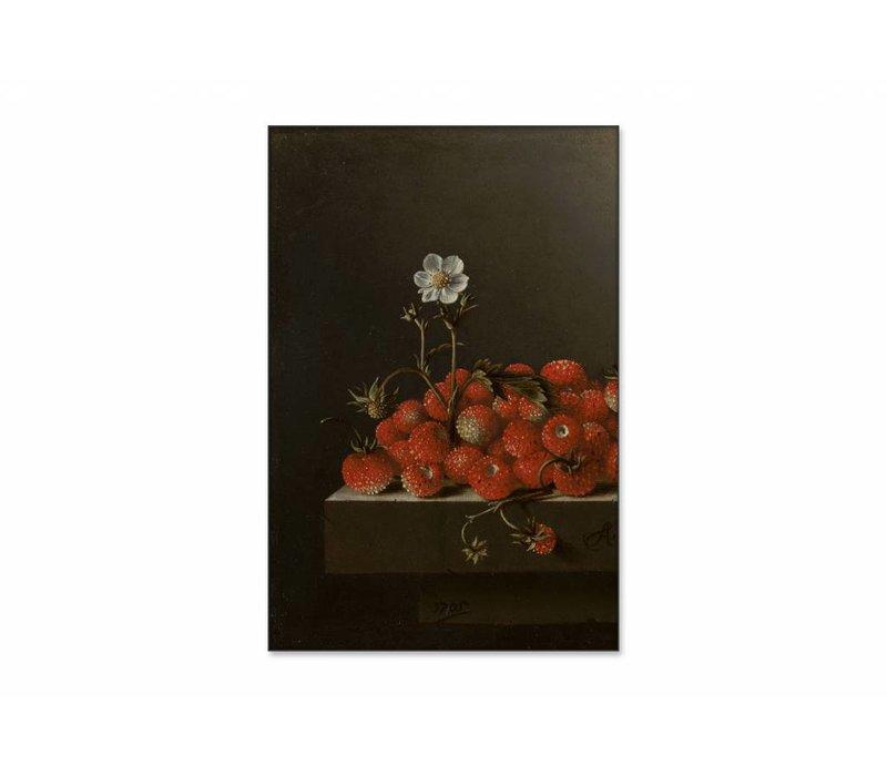 Bosaardbeien • staande afdruk op textiel