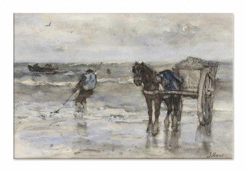 Schelpenvisser op het strand • liggende afdruk op canvas