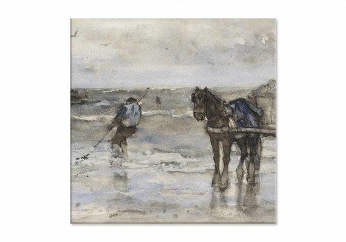 Schelpenvisser op het strand • vierkante afdruk op canvas