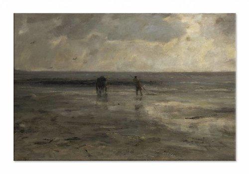Strand bij avond • liggende afdruk op canvas