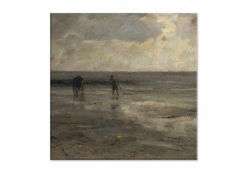 Strand bij avond • vierkante afdruk op canvas