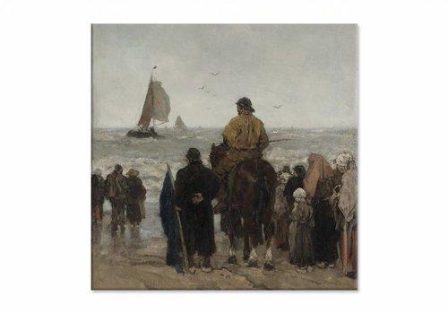 Aankomst der boten • vierkante afdruk op canvas