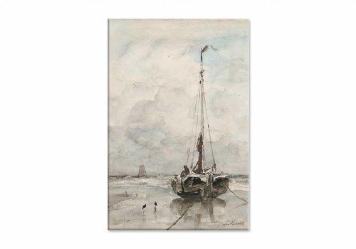 Visserspink aan het strand • staande afdruk op canvas