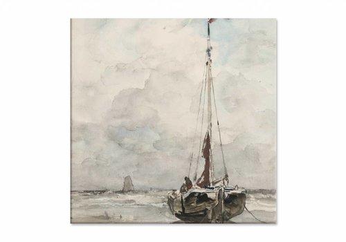 Visserspink aan het strand • vierkante afdruk op canvas
