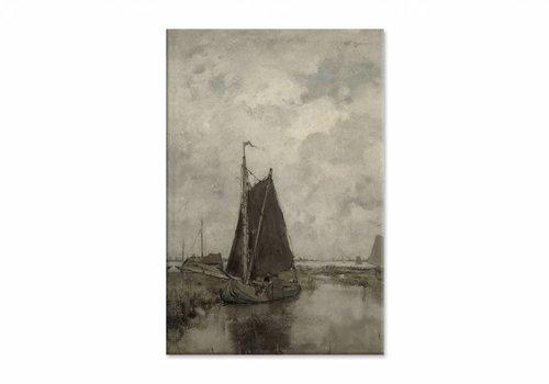 Schepen bij grauw weer • staande afdruk op canvas