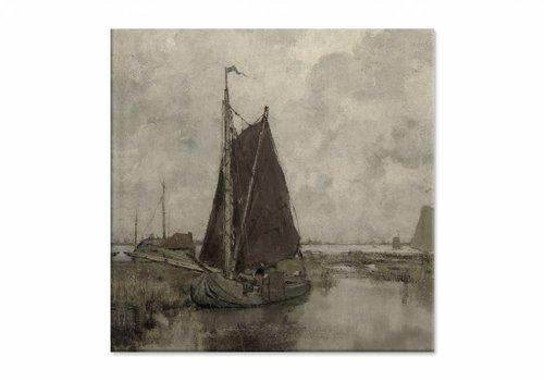 Schepen bij grauw weer • vierkante afdruk op canvas