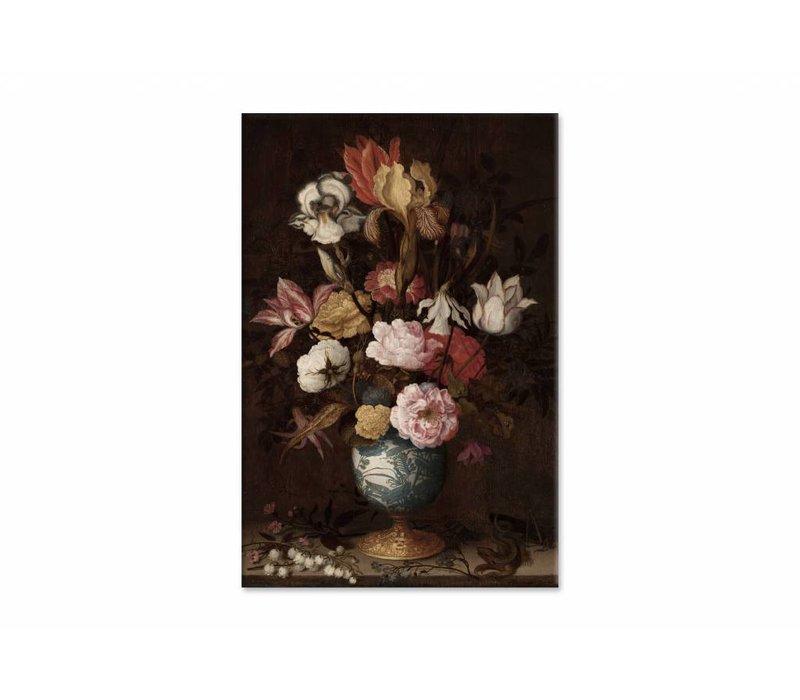Bloemen in een Wan Li vaas • staande afdruk op canvas