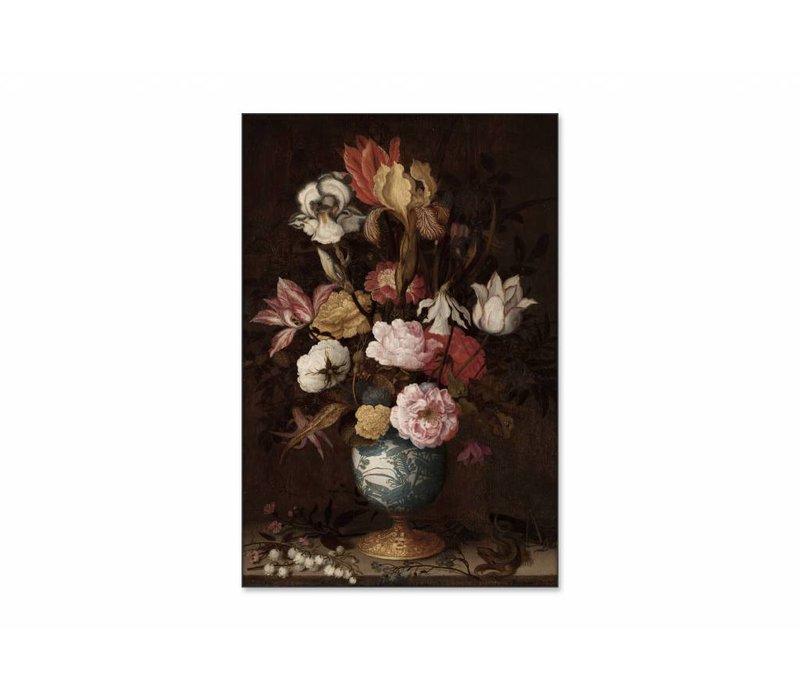 Bloemen in een Wan Li vaas • staande afdruk op textiel