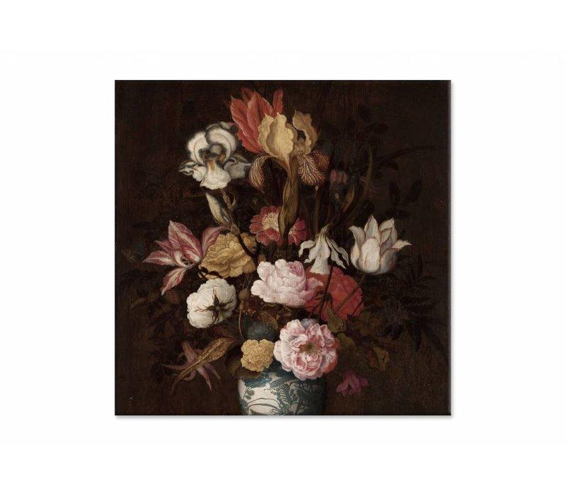 Bloemen in een Wan Li vaas • vierkante afdruk op canvas