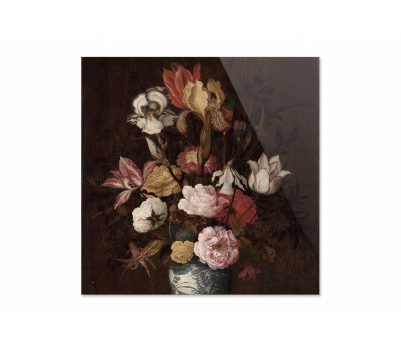 Bloemen in een Wan Li vaas • vierkante afdruk op plexiglas