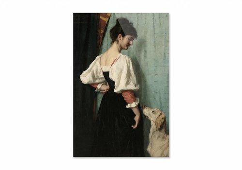 Portret van een jonge vrouw met de hond • staande afdruk op plexiglas