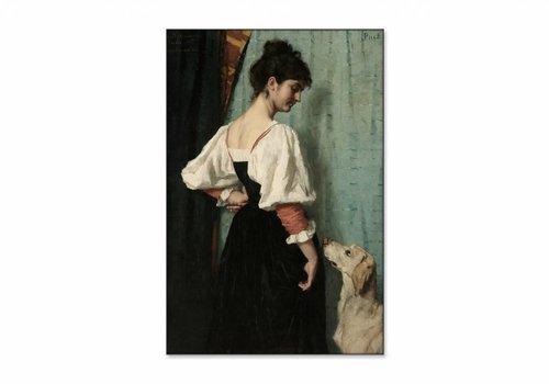 Portret van een jonge vrouw met de hond • staande afdruk op textiel