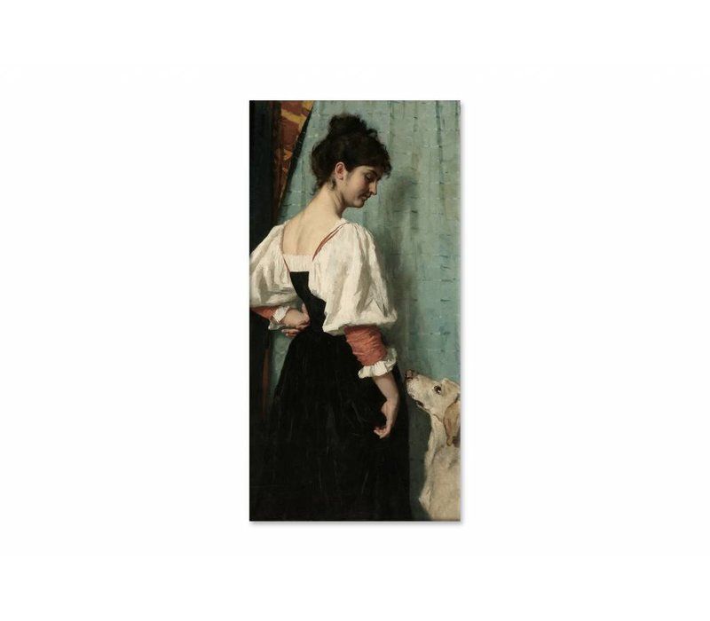 Portret van een jonge vrouw met de hond • staande afdruk op canvas