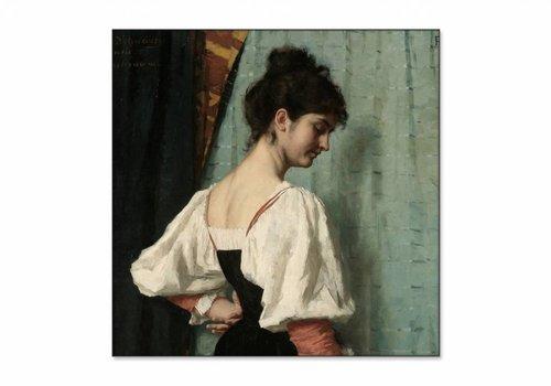 Portret van een jonge vrouw met de hond • vierkante afdruk op textiel