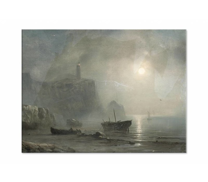 Gezicht op een rotsachtige kust • liggende afdruk op canvas