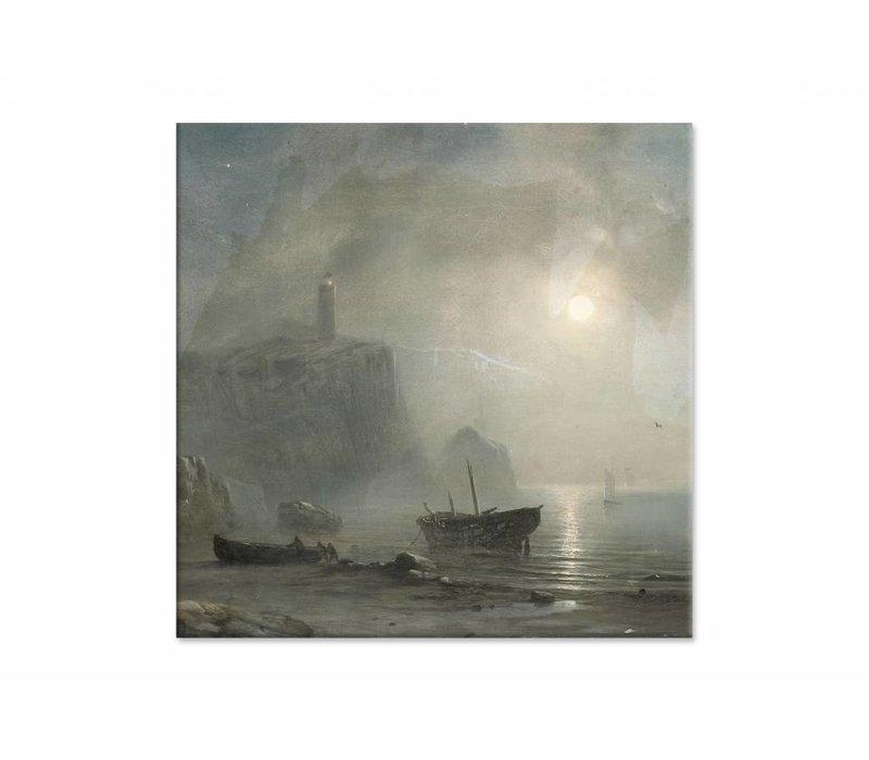 Gezicht op een rotsachtige kust • vierkante afdruk op canvas