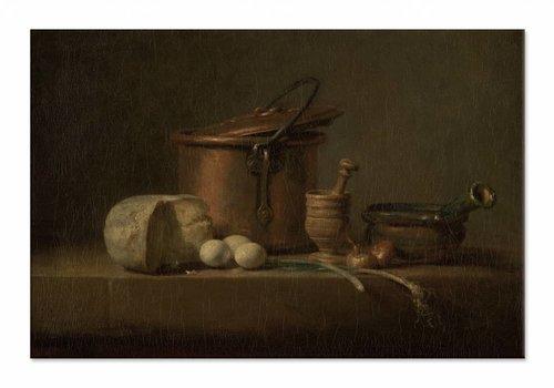 Stilleven met koperen ketel, kaas en eieren • liggende afdruk op canvas