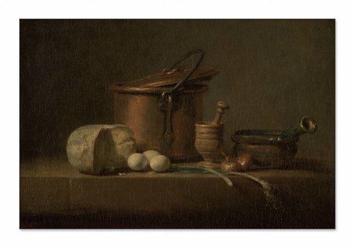 Stilleven met koperen ketel, kaas en eieren • liggende afdruk op textiel
