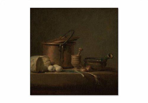 Stilleven met koperen ketel, kaas en eieren • vierkante afdruk op textiel