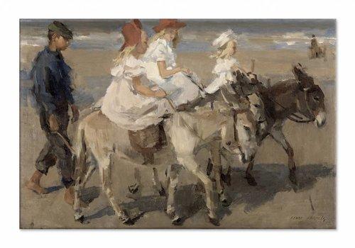 Ezeltje rijden langs het strand • liggende afdruk op canvas