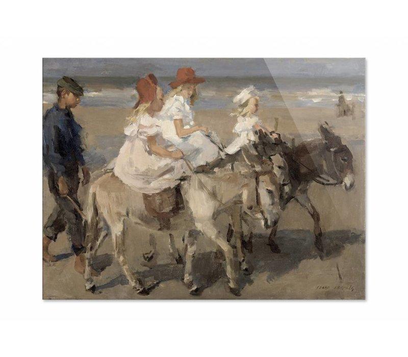 Ezeltje rijden langs het strand • liggende afdruk op plexiglas