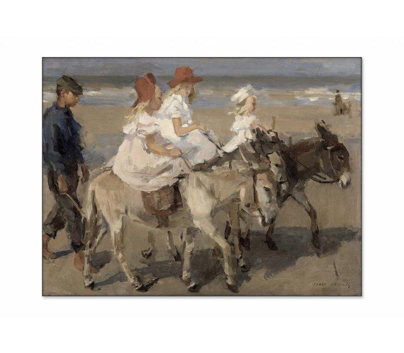Ezeltje rijden langs het strand • liggende afdruk op textiel