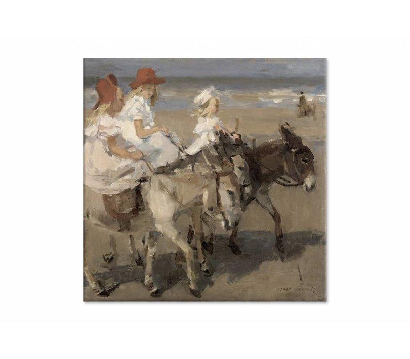 Ezeltje rijden langs het strand • vierkante afdruk op canvas