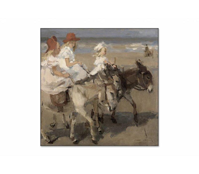Ezeltje rijden langs het strand • vierkante afdruk op textiel