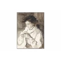 Hakende vrouw • staande afdruk op textiel