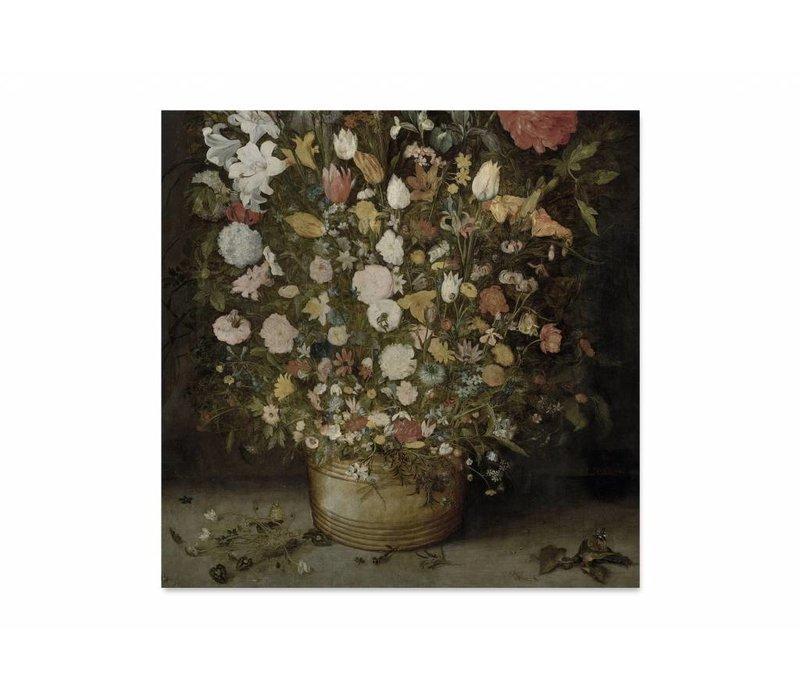 Bloemen in pot • vierkante afdruk op textiel