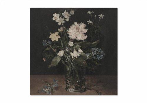 Stilleven met bloemen in een glas • vierkante afdruk op textiel