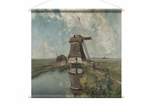 Een molen aan een poldervaart • vierkante afdruk op textielposter