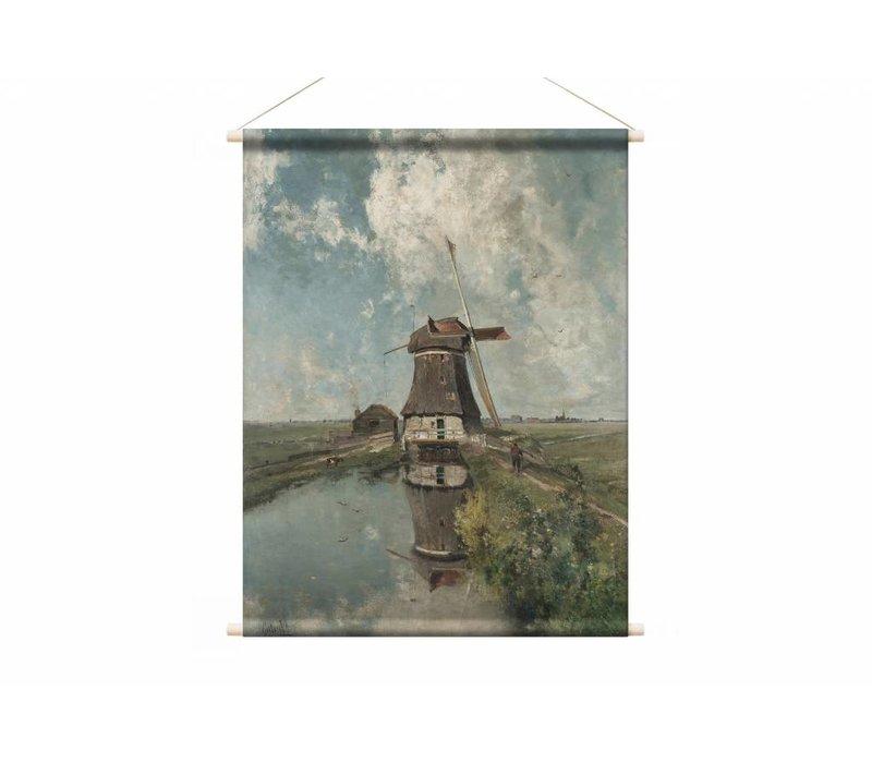 Een molen aan een poldervaart • staande afdruk op textielposter