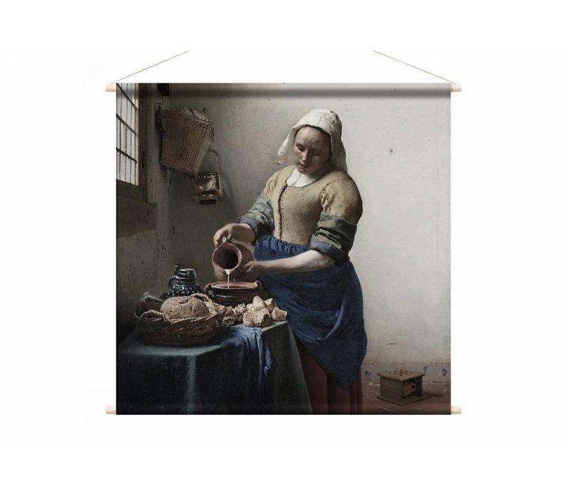 Het melkmeisje • vierkante afdruk op textielposter