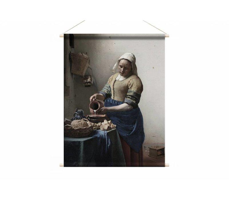 Het melkmeisje • staande afdruk op textielposter