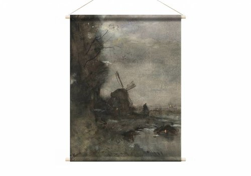 Landschap met molen bij maanlicht • staande afdruk op textielposter