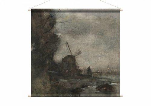 Landschap met molen bij maanlicht • vierkante afdruk op textielposter