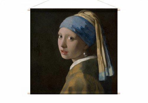 Meisje met de parel • vierkante afdruk op textielposter