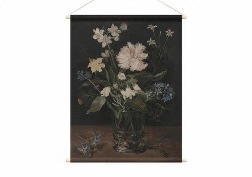 Stilleven met bloemen in een glas • staande afdruk op textielposter