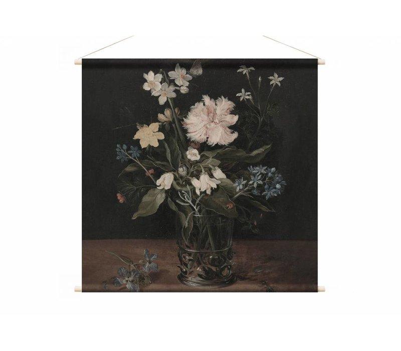 Stilleven met bloemen in een glas • vierkante afdruk op textielposter