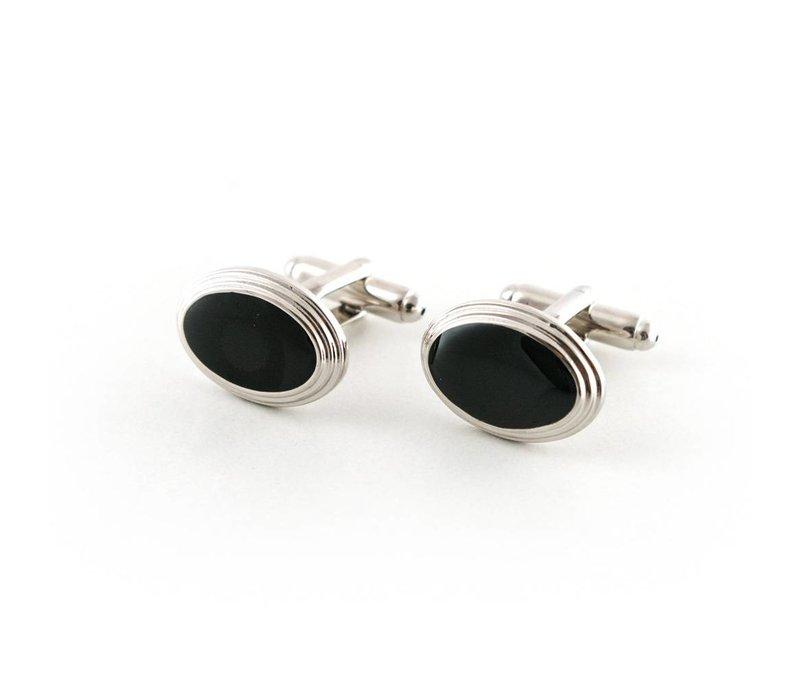 Ovale manchetknoop zwart