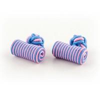 Stoffen manchetknoop blauw roze