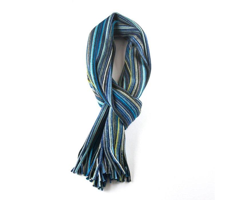 Multicolor sjaal blauw