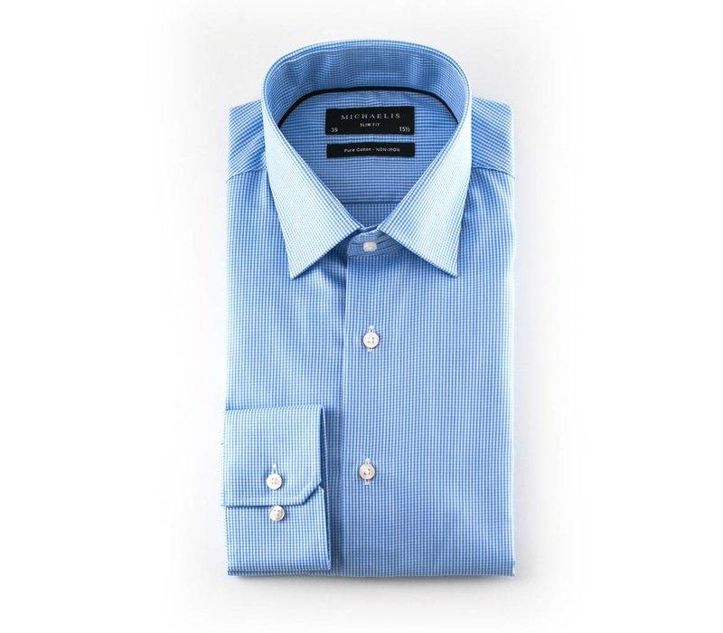 Blauw geruit overhemd
