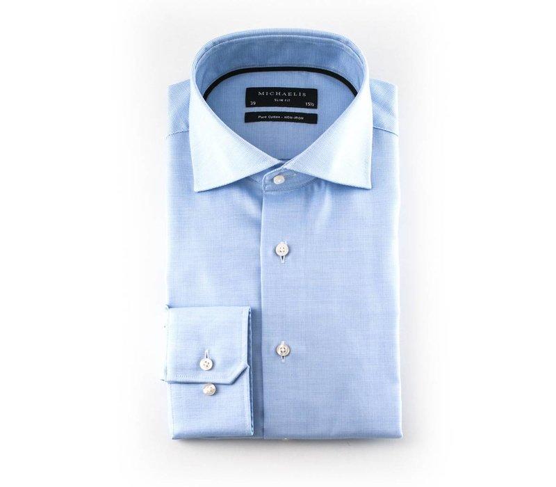 Blauw basket weave overhemd