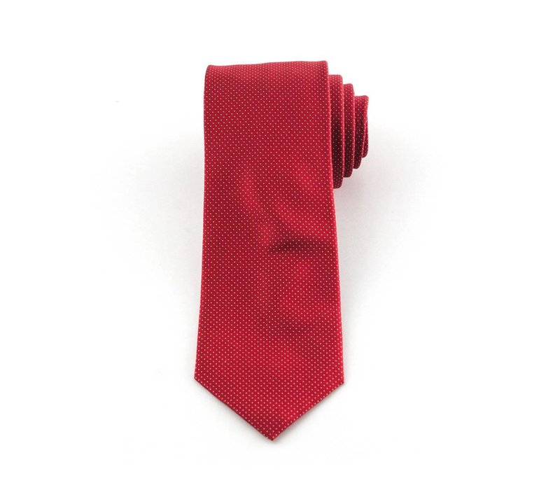 Rode pindot zijden stropdas